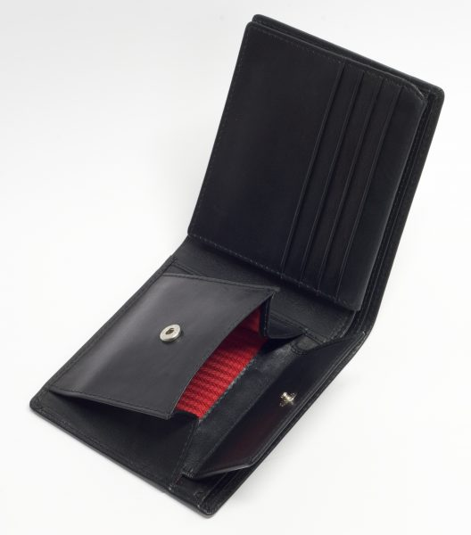 Mens leather wallet with coin section