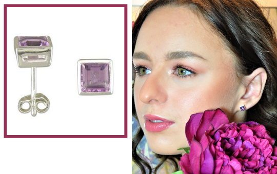 Amethyst Square Stud Earrings
