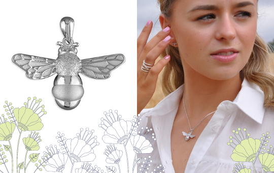 Shop Now Silver Bumble Bee Necklace