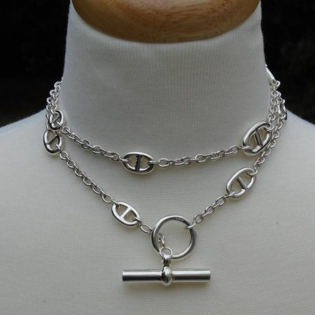 Extra Long Silver Anchor Link Necklace