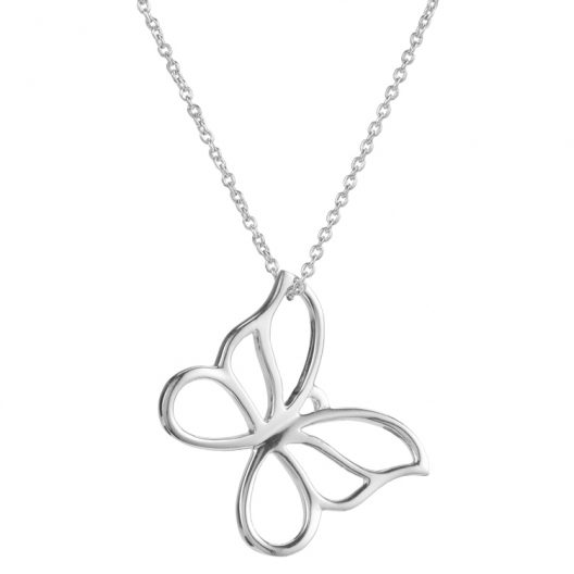 Silver Butterfly Necklace Square