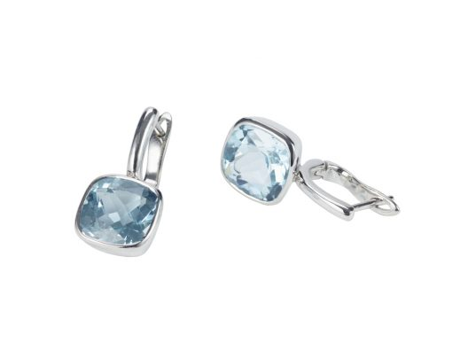 Blue Topaz and Silver Earrings Simple Drop