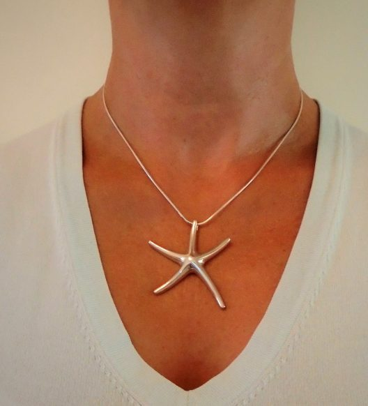 "Large Starfish Necklace on 16"" snake chain"