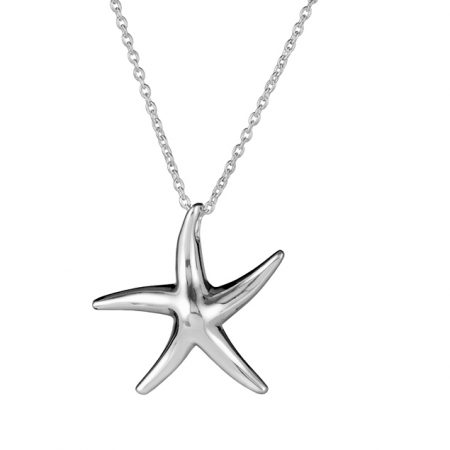 Silver Medium Starfish Necklace Square