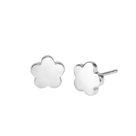 Silver Round Flower Earring
