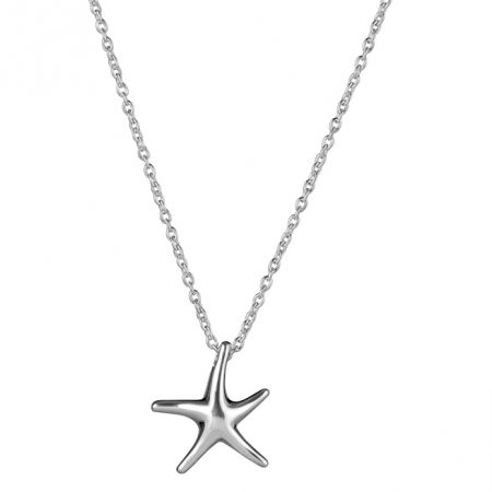 Silver Small Starfish Necklace Square