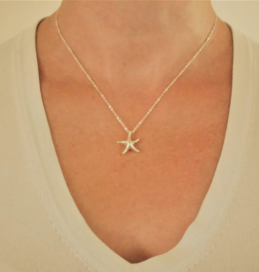 """Small starfish necklace on 16"""" standard chain"""