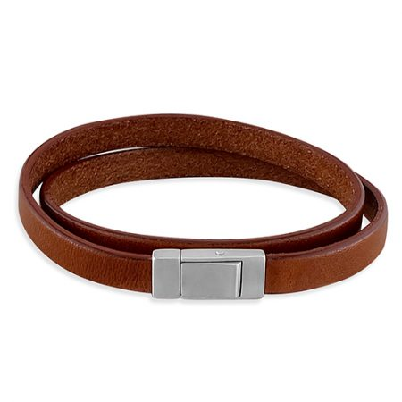 Brown Leather and Silver Mens Bracelet