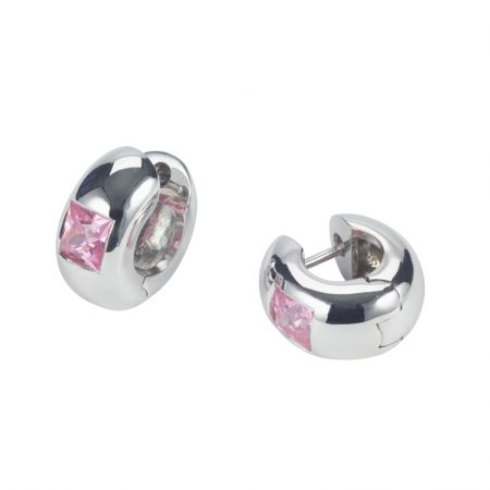 Pink CZ and Silver Huggie Hoops