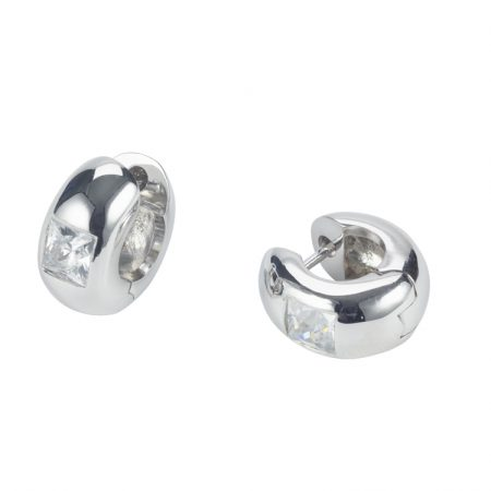 White CZ Huggie Hoop Earrings