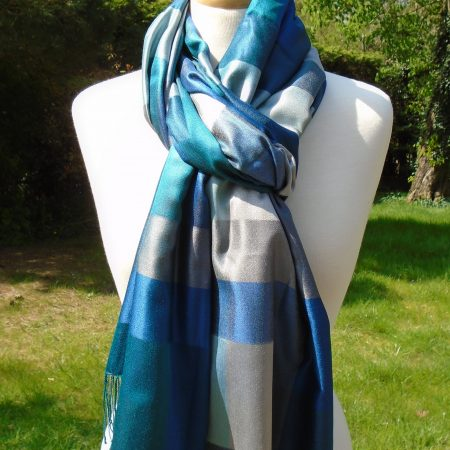 Pure Silk Scarf in Deep Blues