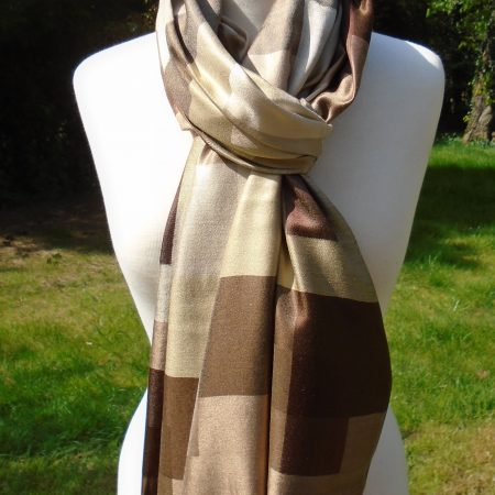 Brown Checked Pure Silk Scarf