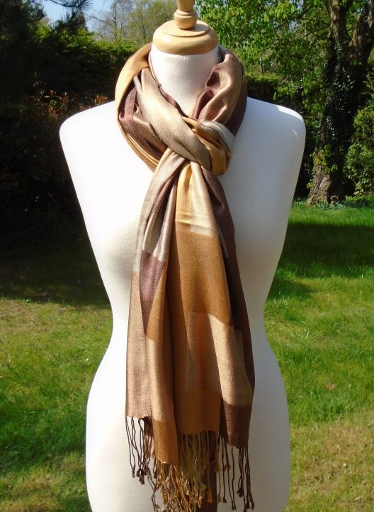 Golden Brown Checked Pure Silk Scarf