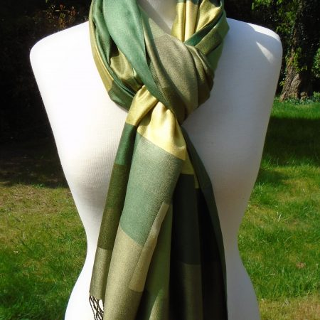 Green Checked Pure Silk Scarf