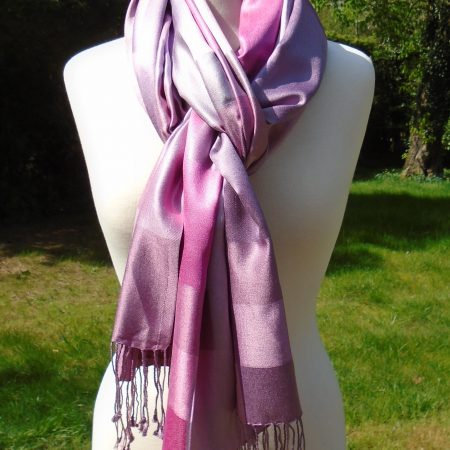 Lilac & Pink Checked Pure Silk Scarf