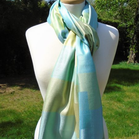 Soft Aqua Checked Pure Silk Scarf