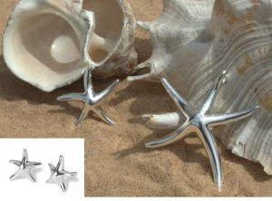 large and medium starfish necklace and earrings