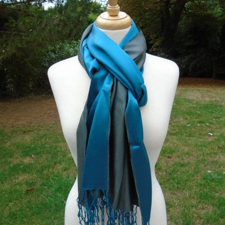Petrol Blue and Turquoise Pure Silk Scarf