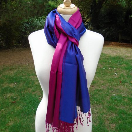 Purple and Magenta Pink Pure Silk Scarf
