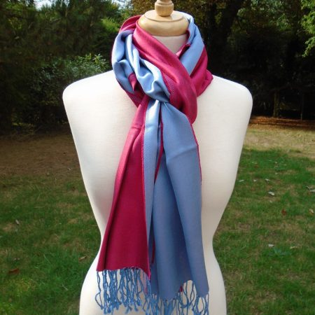 Light Blue and Raspberry Pink Pure Silk Scarf