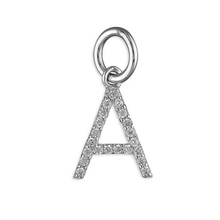 Silver and CZ Initial Pendant Necklace