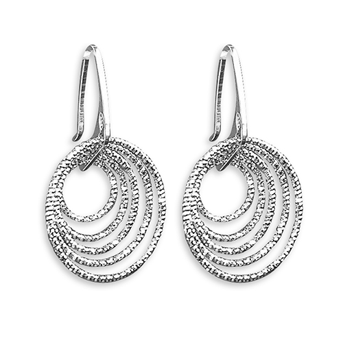 Diamond-Cut Concentric Circle Earrings