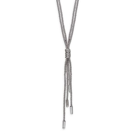 Double Row Tassel Necklace with Silver Cuff Finish