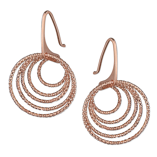 Rose Gold Diamond Cut Concentric Circle Earrings
