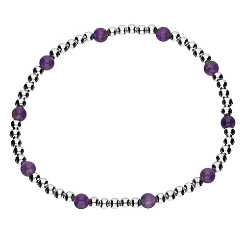 Amethyst and silver bead bracelet