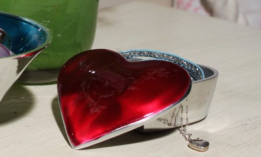 Red Pink Heart Trinket Box