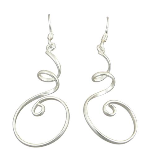 Curly Wurly Silver Earrings
