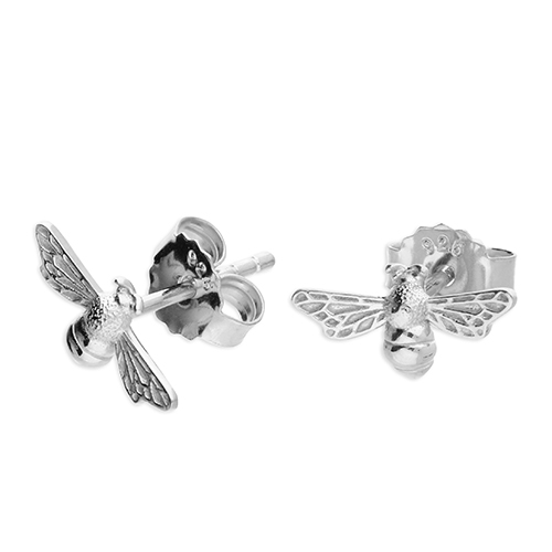 Silver Bee Earrings Stud