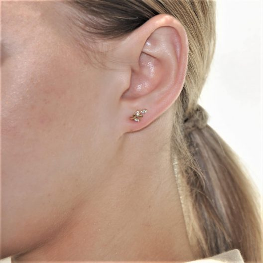 Gold Leaf Stud Earring on lobe