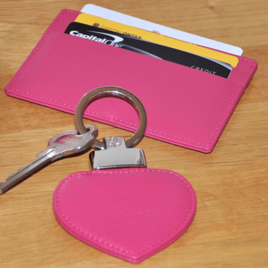 Pink flat credit card holder and key ring
